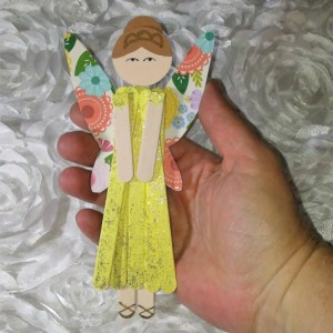 Yellow Flowered Wood Fairy Wall Decor / Wooden Pixie Hanging Decoration / Easter Gift / Spring Gift