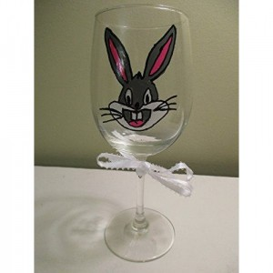 Hand Painted Wine Glass Bugs Bunny 12 oz