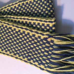 Inkle Loom Woven Navy/Yellow Strap, Trim, or Belt#60-7100