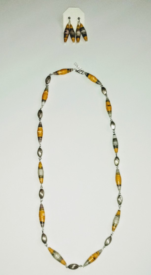 """""""Dandelion"""" Paper Bead Earring and Necklace Set"""