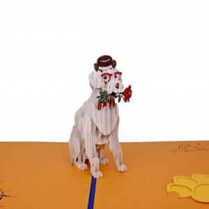 greeting card a puppy with a flower