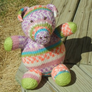 Hand Knit Pig, Knitted Piggy, Stuffed Animal, Farm Animal, Piglet, Plush Piggy, Kids Toy, Hand Knit Toy,  Rainbow Toy,