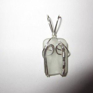 Clear Beach Glass Handmade Silver Plated Wire Wrapped Necklace