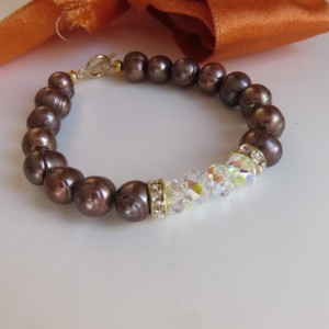 Chocolate Pearls & Sparkle Bracelet