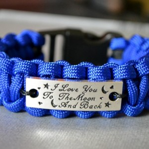 I Love You To The Moon and Back Blue Paracord Bracelet w/ Black Buckle