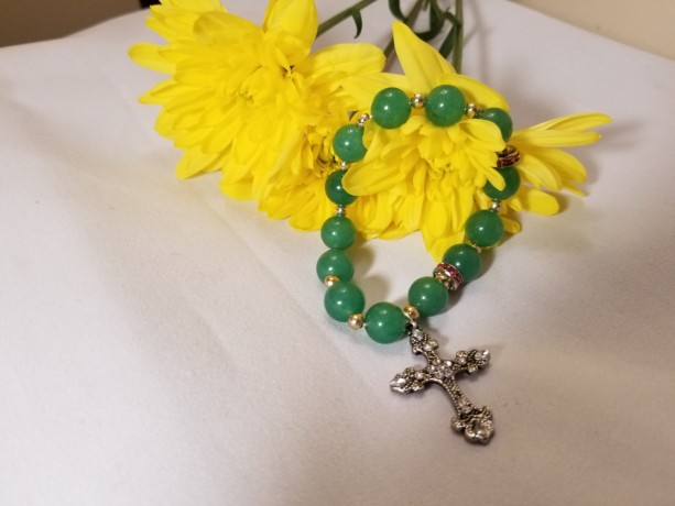 Rosary Bracelet Decade Stretch Band Beaded Catholic GREEN