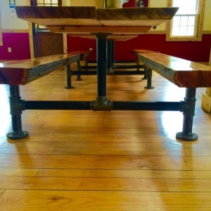 "Black Pipe Picnic Table Legs, Table Base ""DIY"" Parts Kit, Pipe Sizes Available - 1-1/2"" Pipe,"