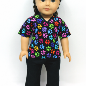 Multicolor Pawprint Vet Scrubs for American Girl and similar dolls