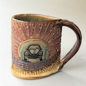 Hippie Bug Pottery Mug Coffee Cup Handmade Tableware Microwave and Dishwasher Safe