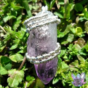 Amethyst(Natural) Crystal Wire Weave Pendant / Natural Crystal Jewelry / Healing Crystal Jewelry / Gemstone Pendant/Wire Weave Jewelry