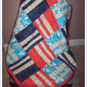 Airplane Baby Boy Quilt with Fleece Backing and Star Quilting