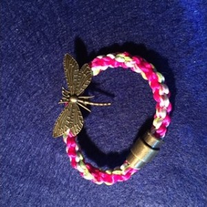 Kumihimo bracelet with dragonfly charm