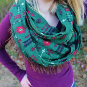 Dark Olive Green with Bright Red Aztec Tribal Pattern Super Soft and Cozy Infinity Scarf with Brown Fringe Accent