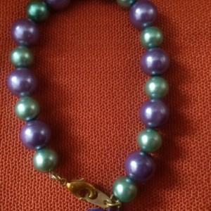 Purple and Green Heart Bracelet