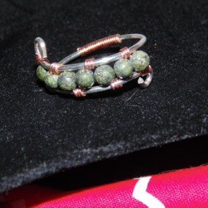 Wire Wrapped Thumb Ring, Sterling Silver, Natural Copper and Russian Serpentine
