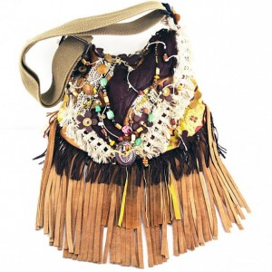 Leather Fringe Hippie Large boho Gypsy Crossbody bag, Beaded Festival purse Green Brown Tan, Handbag Upcycled Handmade by gypsy goods