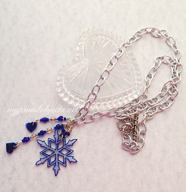 Snowflake Pendant Silvertone with Blue Heart Charms