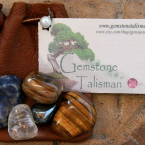House Warming Talisman - gemstones in a leather pouch