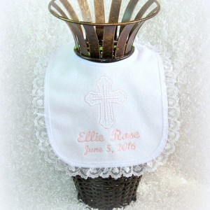 Beautiful Baptism Christening Dedication Bib, elegant white heart lace, terry cloth bib, perfect & unique godchild godparent religious gift