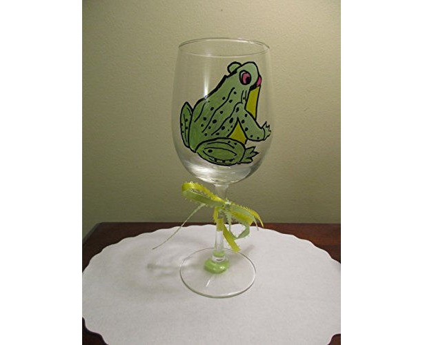 Hand Painted Wine Glass Frog Toad