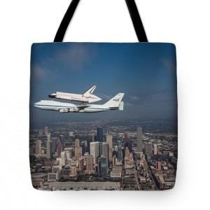 Space Shuttle Endeavour Over Houston Texas Tote Bag