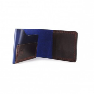 Horween Leather Billfold in Navy and Burgundy