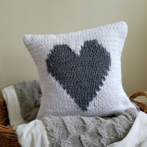 Gray Heart Knit Pillow Cover