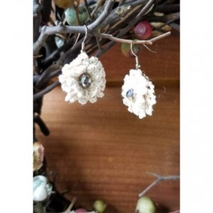 Cream Crochet Flower Drop Earrings