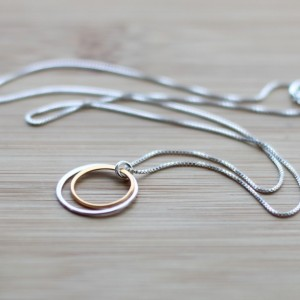 Silver and Gold Double Circle Necklace