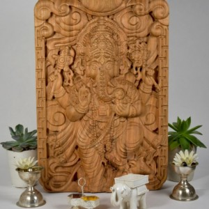 "14"" Ganesha Wood Relief Carving"