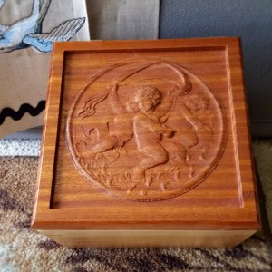 Cherry and African wood Cherub box