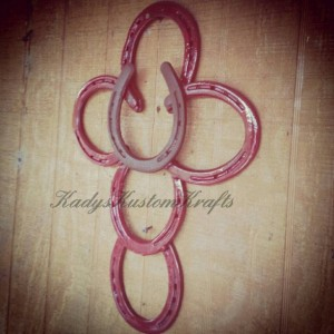 Rustic horshoe cross, Rustic cross, barn red and brown metal art cross,religious Home decor, country rustic cross, country wedding,