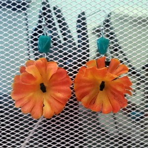Orange and Teal Flower Earrings