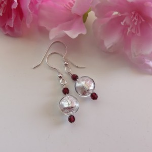 Snow Drops with Garnet Earrings