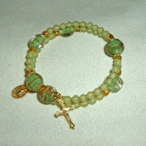 Rosary Bracelet of Green Glass Beads and Gold Findings