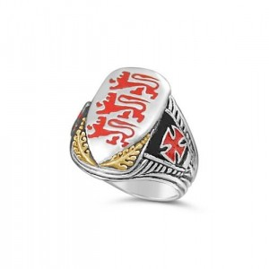 Richard the Lion heart shield ring sterling silver 10 k gold