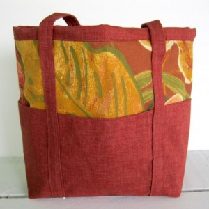 Handmade 6 Pocket Unlined Tote Bag, fall tote, summer bag, shopping bag, tote bag for books, carry all, market bag, womens tote
