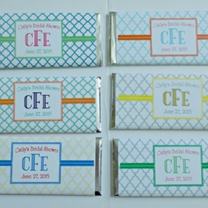 Personalized Candy Bars with Hershey bars-Monogram design in your choice of color--Custom Designed for you--pack of 6