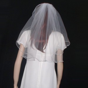 "Satin Cord  Veil Shoulder Length 24""   rattail cord veil available in White, Light Ivoy and Ivory"
