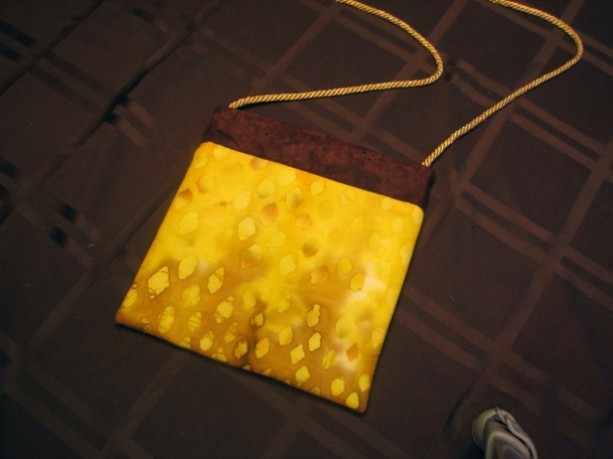 Snap Shopping Purse in Shades of Yellow and Brown