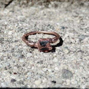Aquamarine and Copper Electroformed Ring