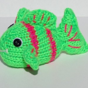 Hand Knitted Fish, Small Toy, Tropical Fish, Neon Toy,  Stuffed Animal, Handmade Toy
