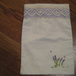 Embroidered Lavender Drawstring Bag