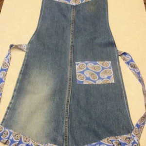 Blue Jean apron - Purple paisley