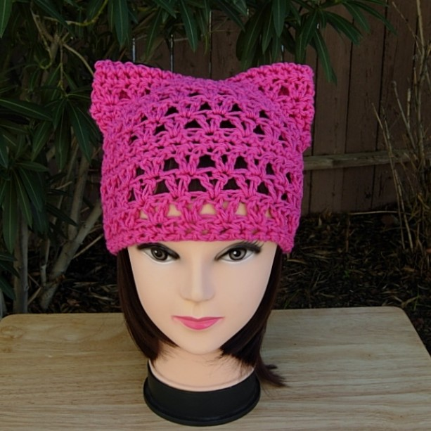 Hot Pink Pussy Cat Hat, Summer PussyHat, 100% Cotton Lightweight Lace Crochet Knit Solid Bright Dark Raspberry Pink Thin Soft Warm Weather Spring Beanie, Ready to Ship in 3 Days