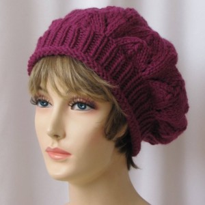 Pink Lace Slouchy Knit Beret - Fuchsia Pink Girly Soft Warm Romantic Gift for Her