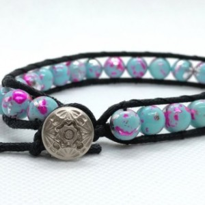 Convertible Large Bracelet or Anklet with Turquoise, Pink and Silver Bead and Waxed Cord by Cumulus Luci