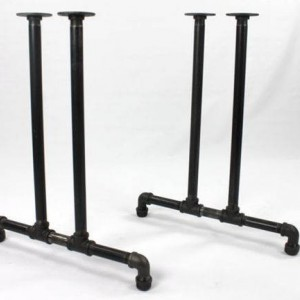 """Black Pipe Table Frame/Table Legs """"DIY"""" Parts Kit, 2 End Frames 1"""" Black Pipe X 22"""" Wide X 28"""" Tall"""
