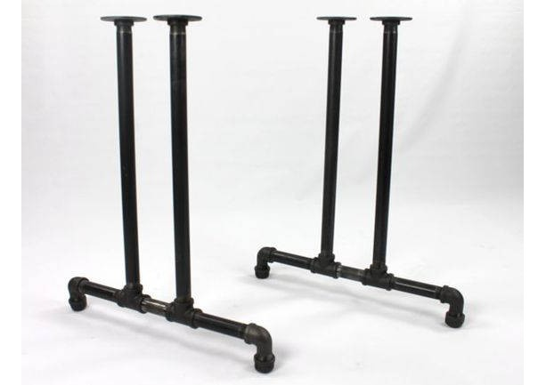 "Black Pipe Table Frame/Table Legs ""DIY"" Parts Kit, 2 End Frames 1"" Black Pipe X 22"" Wide X 28"" Tall"