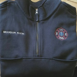 Custom Embroidered 1/4 zip Job shirt for public safety Fire EMS EMT Paramedic Police